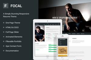 Focal Responsive Resume Theme by bestpsdfreebies
