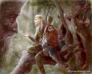 Legolas and Gimli visit Fangorn by alystraea
