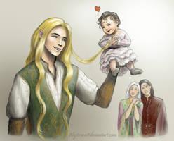 Glorfindel and Baby Arwen by alystraea