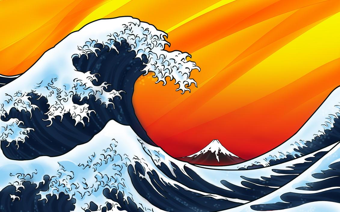 Japanese Wave Vista Background by Silverjerk