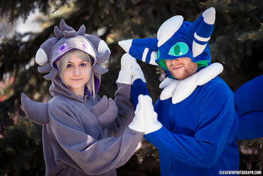 Kigurumi Pair! Espurr and Meowstic by Iridescent-Fall