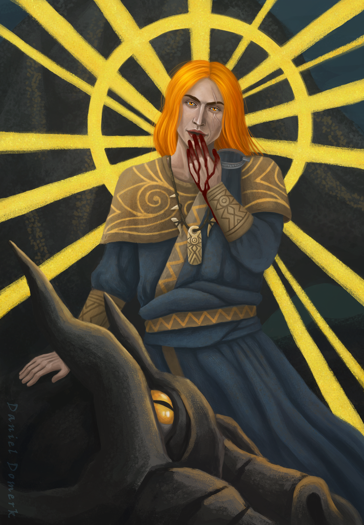 Dovahkiin absorbs the dragon soul by Domerk
