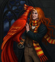 Young Albus Dumbledore and Fawkes by Domerk