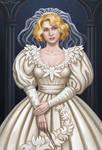 Queenie Goldstein in wedding dress