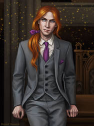 Young Albus Dumbledore in the Director's office by Domerk