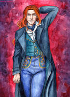 Young Albus Dumbledore in the suit of Grindelwald by Domerk