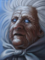Old woman with the sky in her eyes