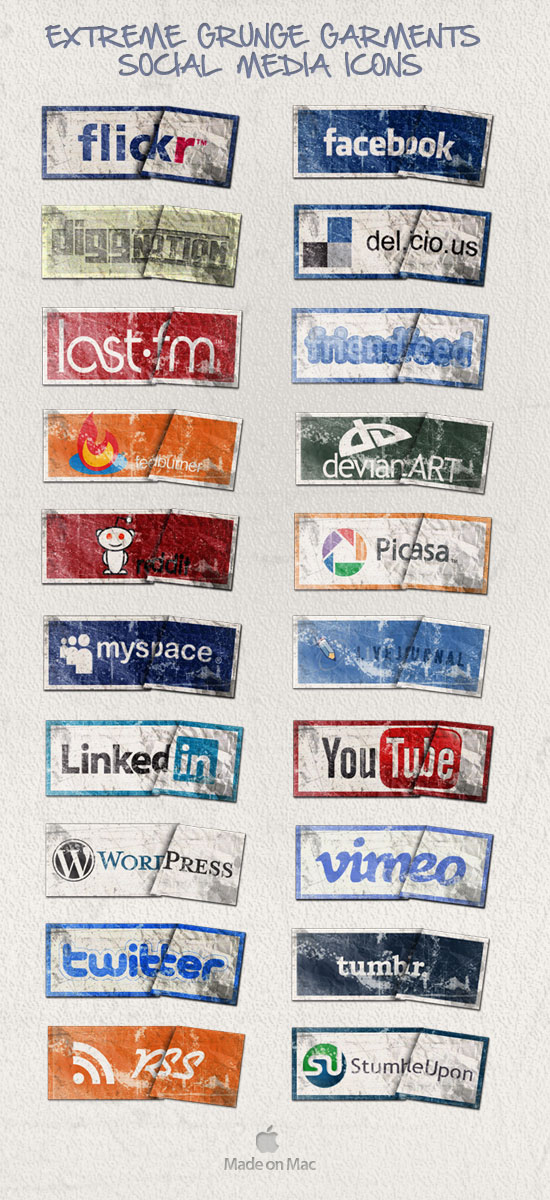 Extreme Grunge Social Icons