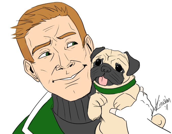 Guy Gardner Plus Pug by JamieKinosian