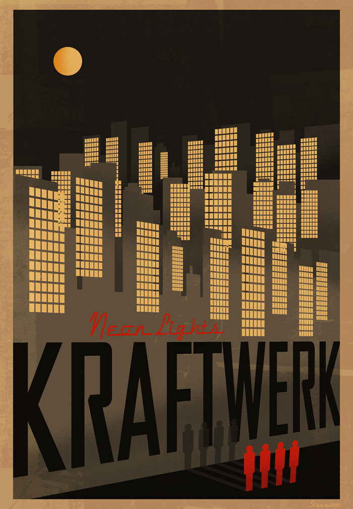 kraftwerk neon lights poster by paulsizer on deviantart