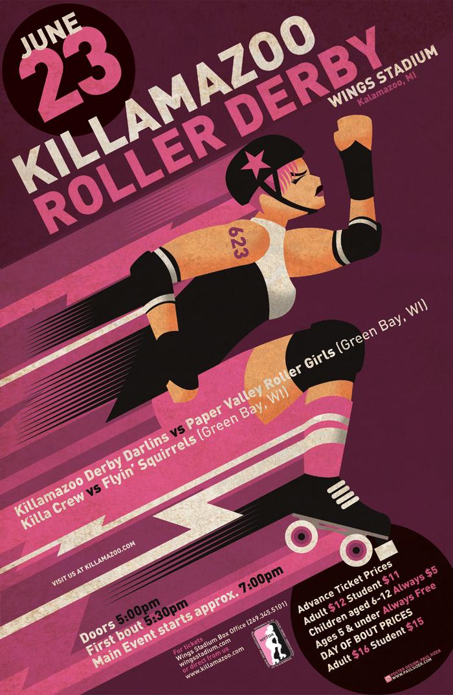 Killamazoo Derby Poster JUNE 2012 by PaulSizer