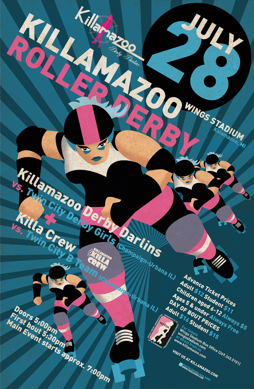 Killamazoo Derby Poster JULY 2012 by PaulSizer