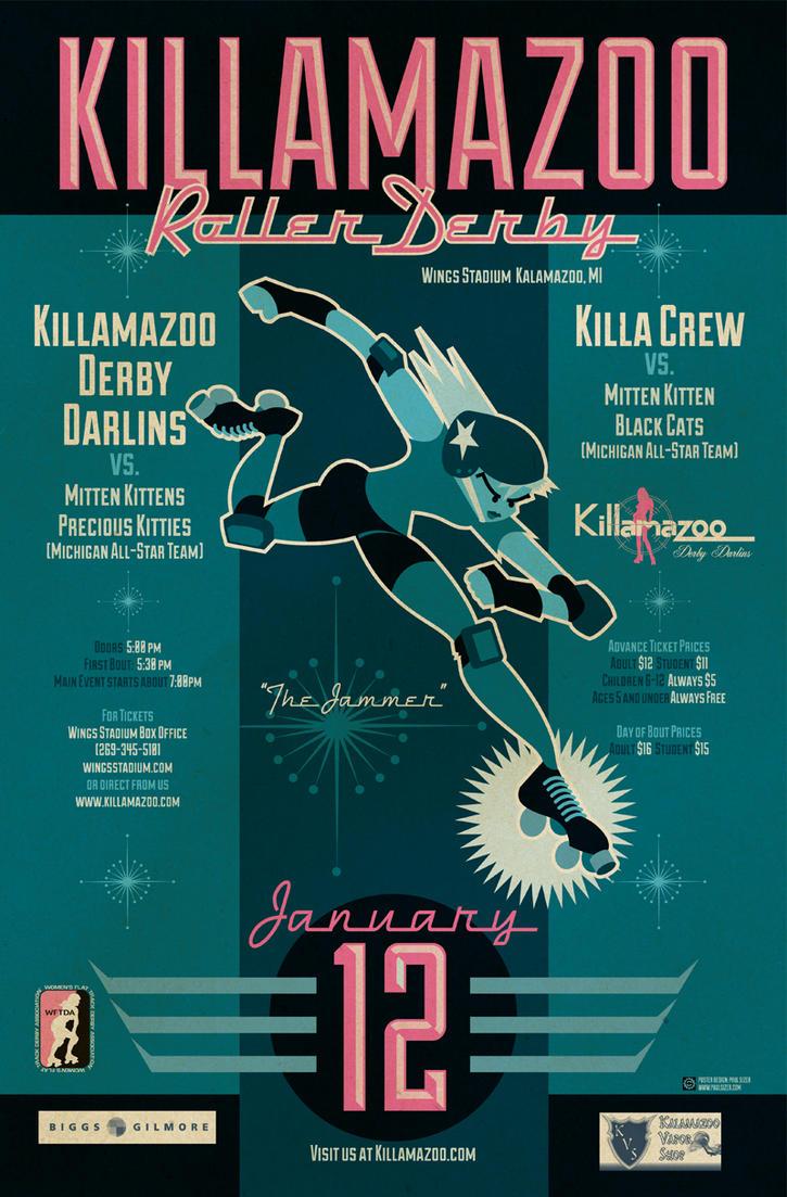 KILLAMAZOO DERBY DARLINS Jan 2013 Poster by PaulSizer