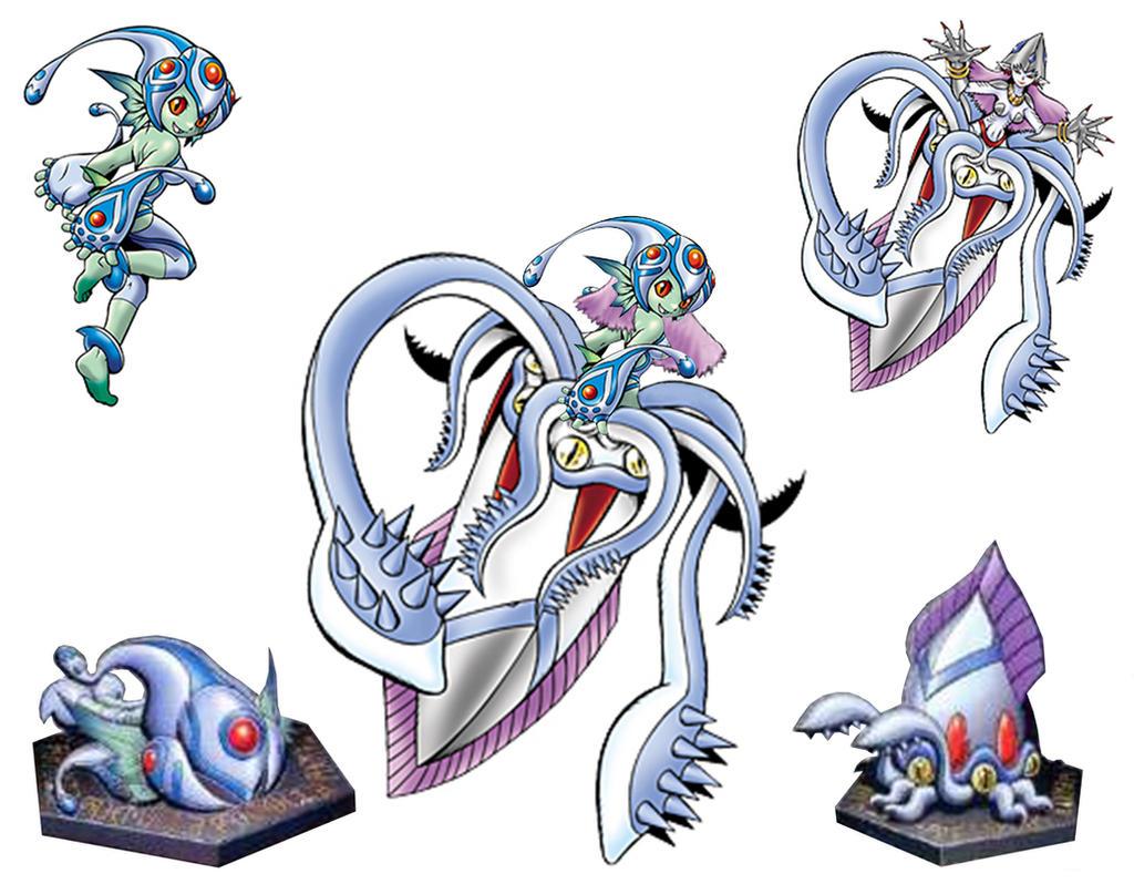 Digimon Frontier Rhinokabuterimon Aquatimon - RanamonCalmaramon