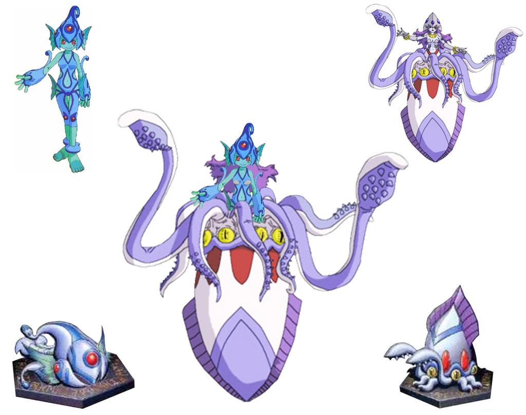 Digimon Frontier Rhinokabuterimon Aquatimon - Anime Style by