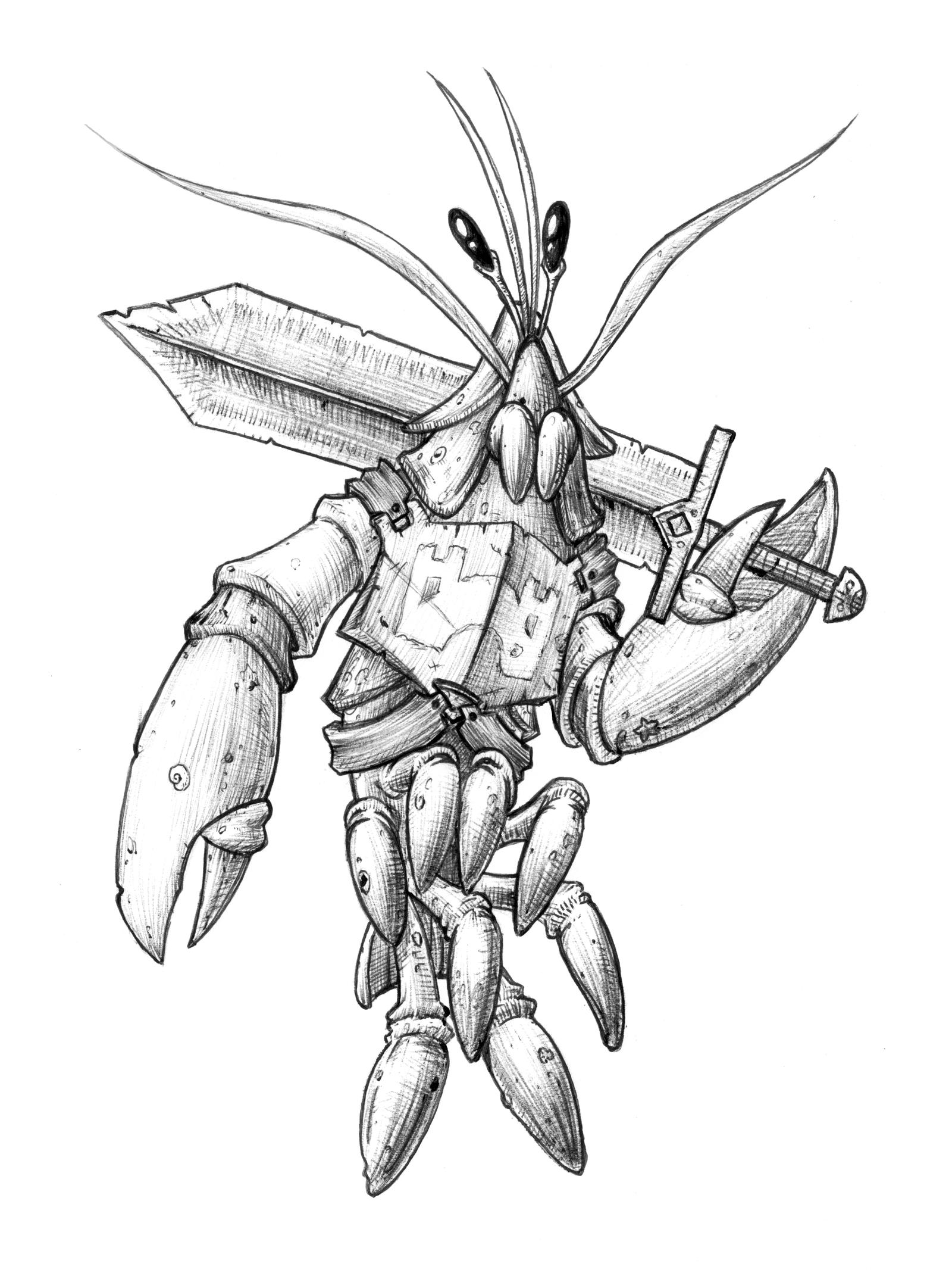 Uncategorized Lobster Drawings lobster knight by relentless666 on deviantart relentless666