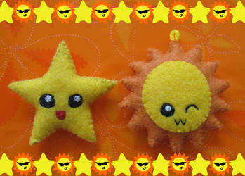Plushies: Sun and a star by CandyCorrn