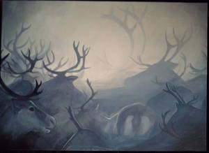 Reindeer painting by Mirnamiu