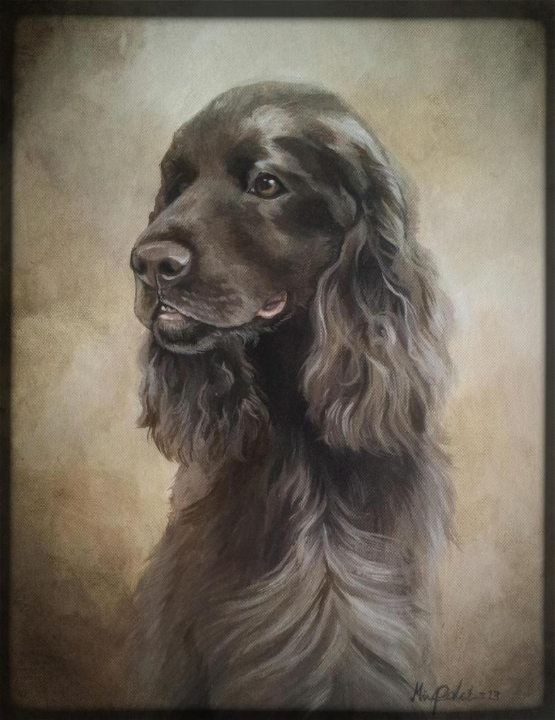 Dog portrait with acrylics by Mirnamiu