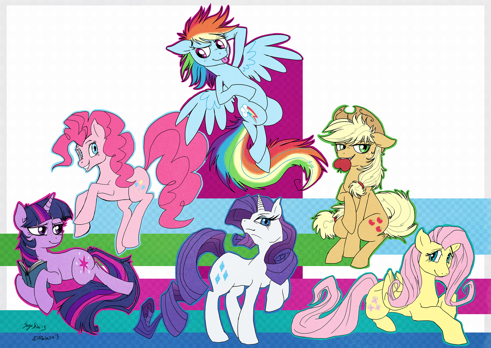 Serge and Dynie drew the Mane 6 by Serge-Stiles