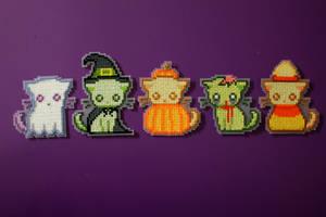 Cross Stitch Spooky Kitties by PkmnMasterTash