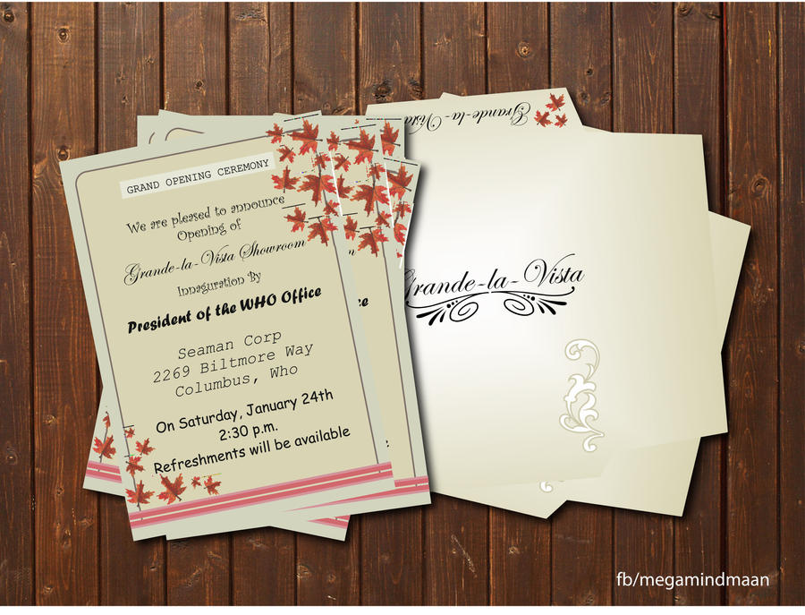 Invitation Card Design Grand Opening By Megamindmaan On