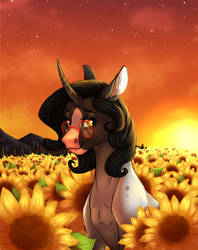 Starry Nights And Bright Sunflowers by Eperyton