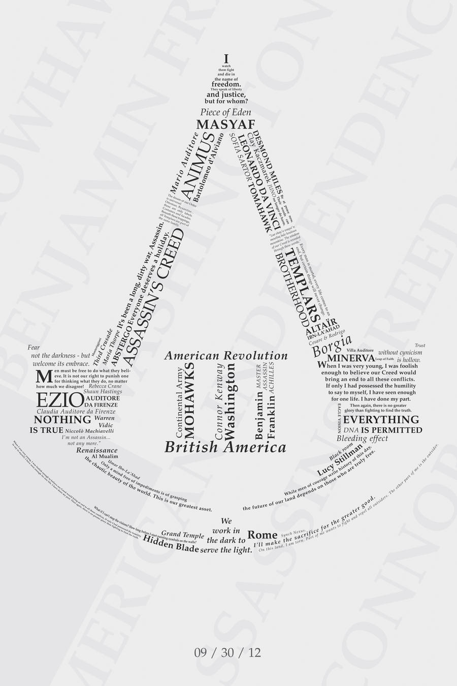 Assassin's Creed III Typography by Biohazard20