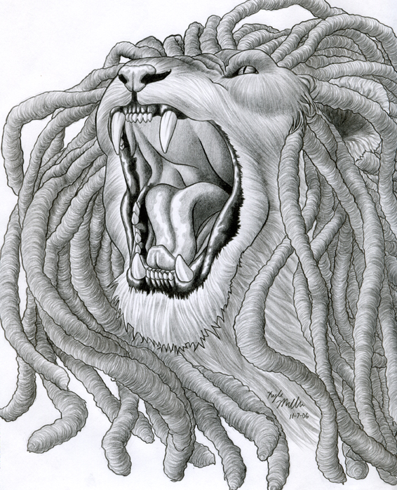 Lion with dreads tattoo drawings - photo#19