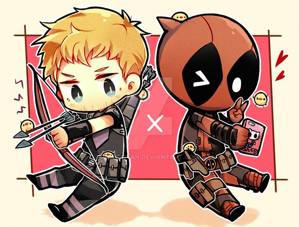 Hawkeye vs Deadpool by GAiTOsan