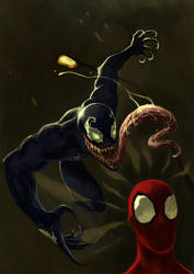 Spiderman vs Venom by nevreme
