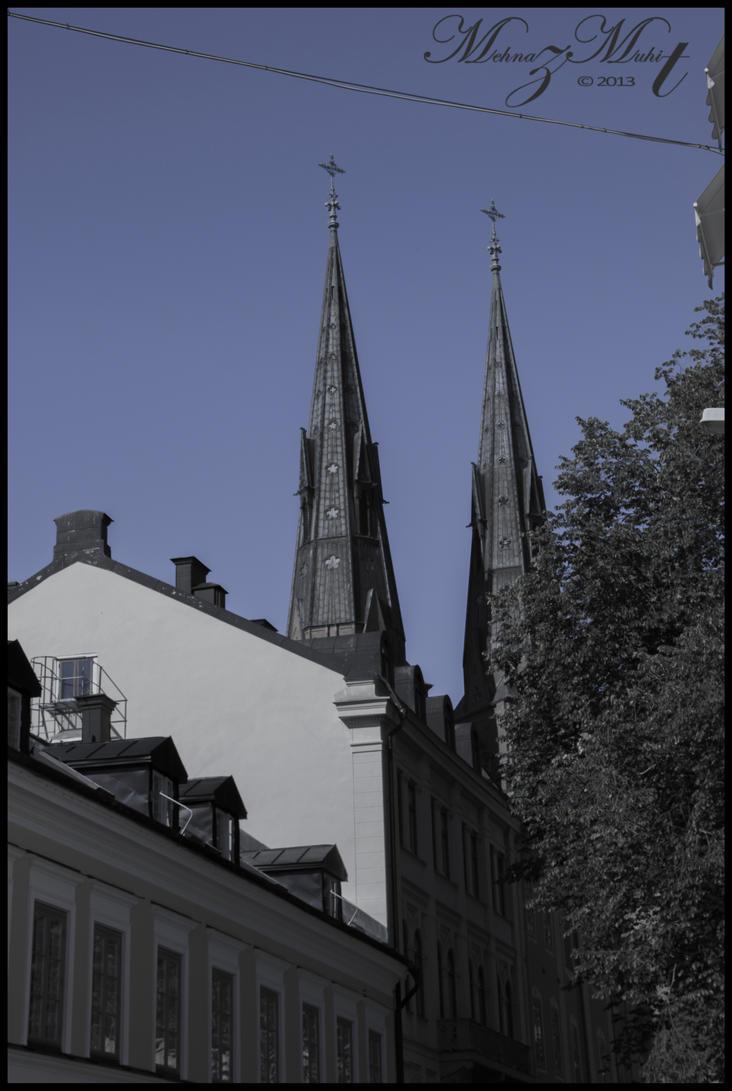Uppsala Cathedral peeking through [Uppsala Series] by iMehnaz