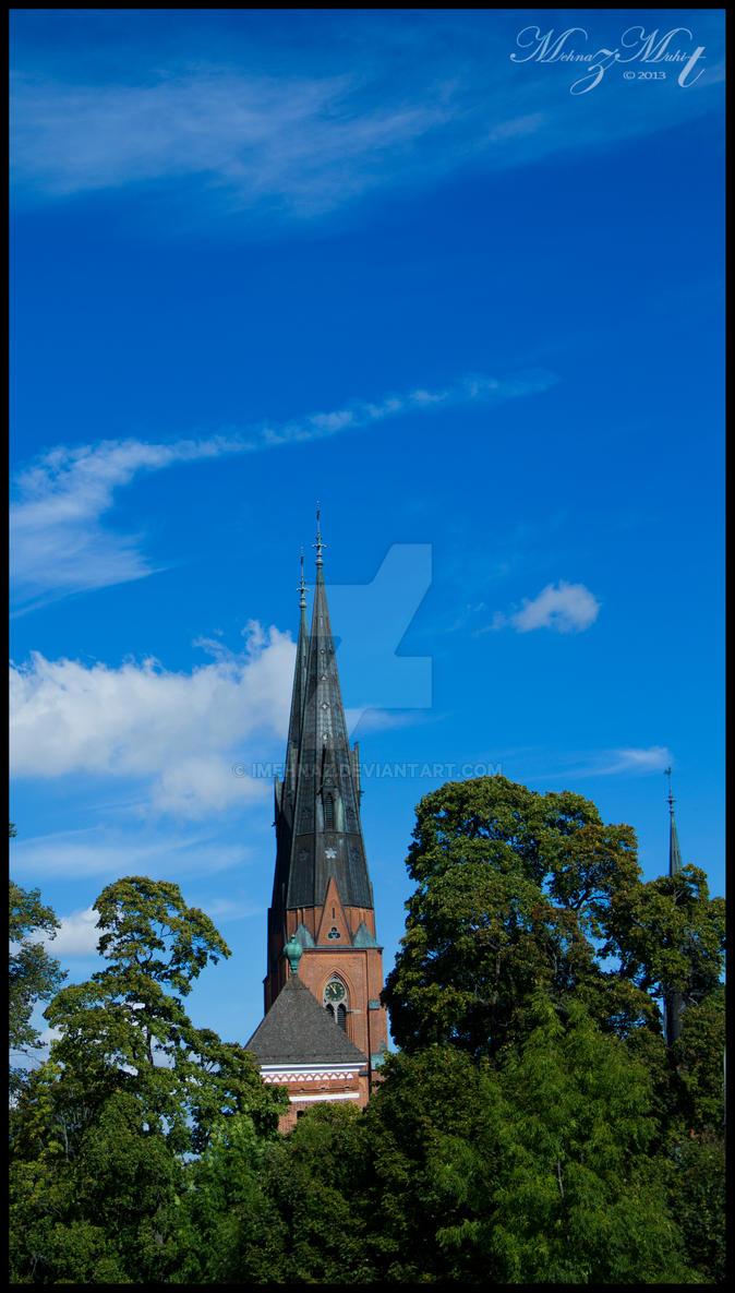 Uppsala Cathedral peeking through2[Uppsala Series] by iMehnaz