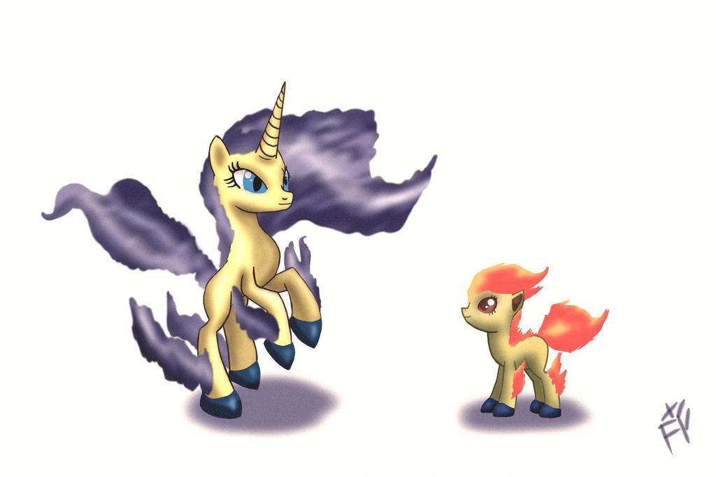 Dia 32 - My little Ponyta: Nightmare Rapidash by FarothFuin