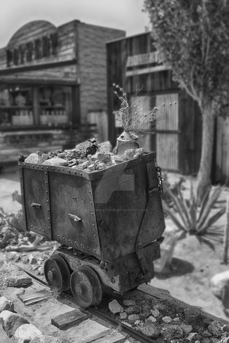 Mine car with rocks and flowers by mastersketcher