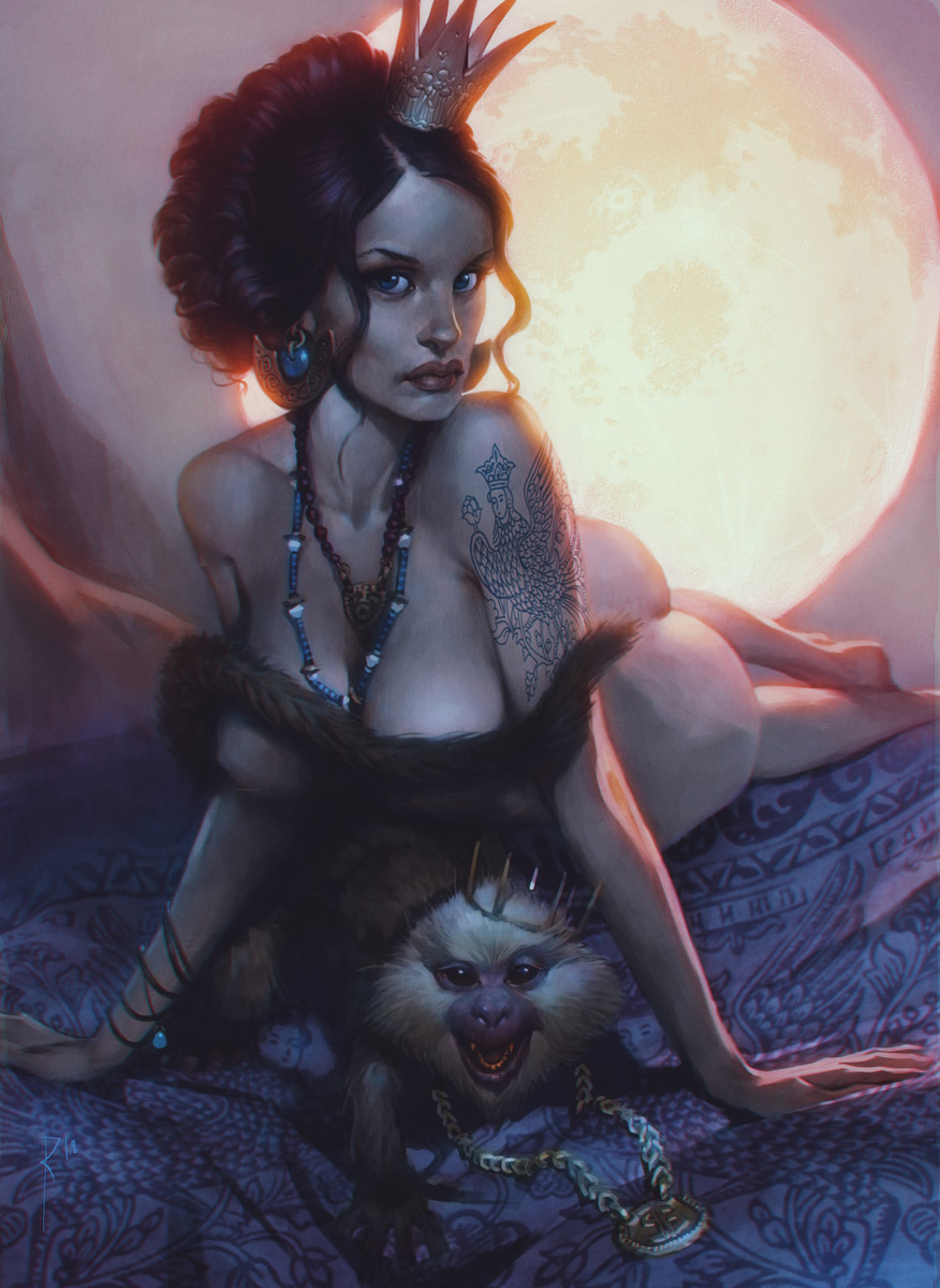 Princess, monkey and Moon by Waldemar-Kazak