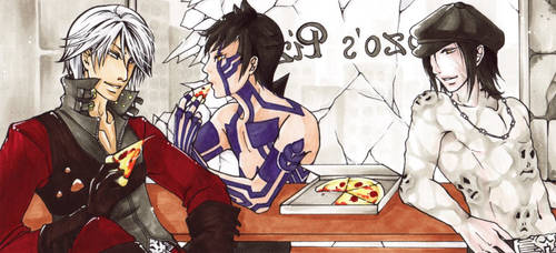 Aceo - Demi-fiends love Pizza by cross-works