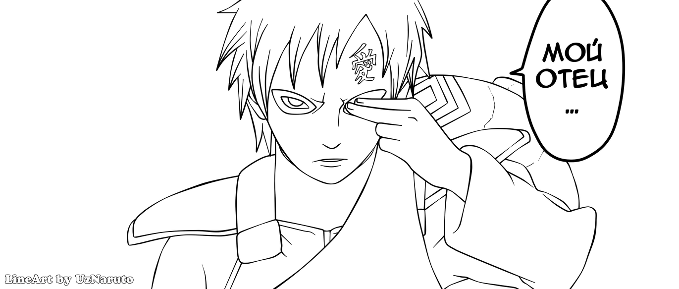 Naruto 524: Gaara LineArt by UzNaruto