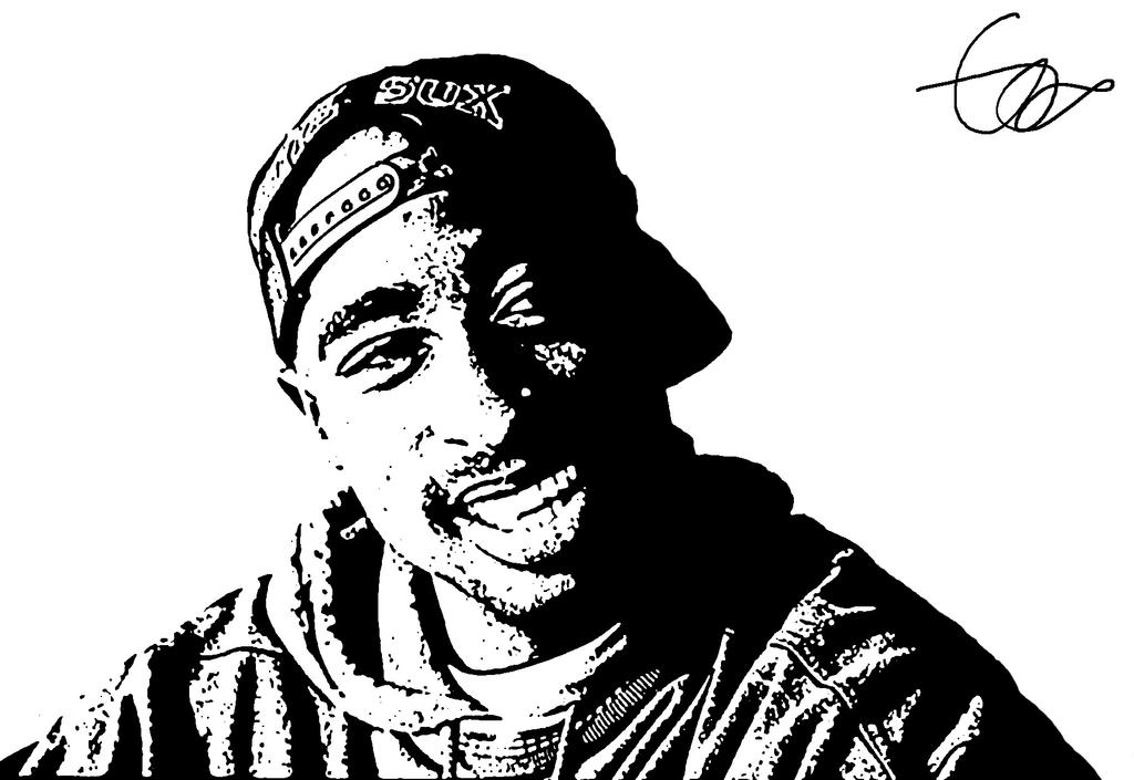 Black and white Tupac by CharlieAli on DeviantArt