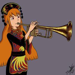 Junko playing trumpet