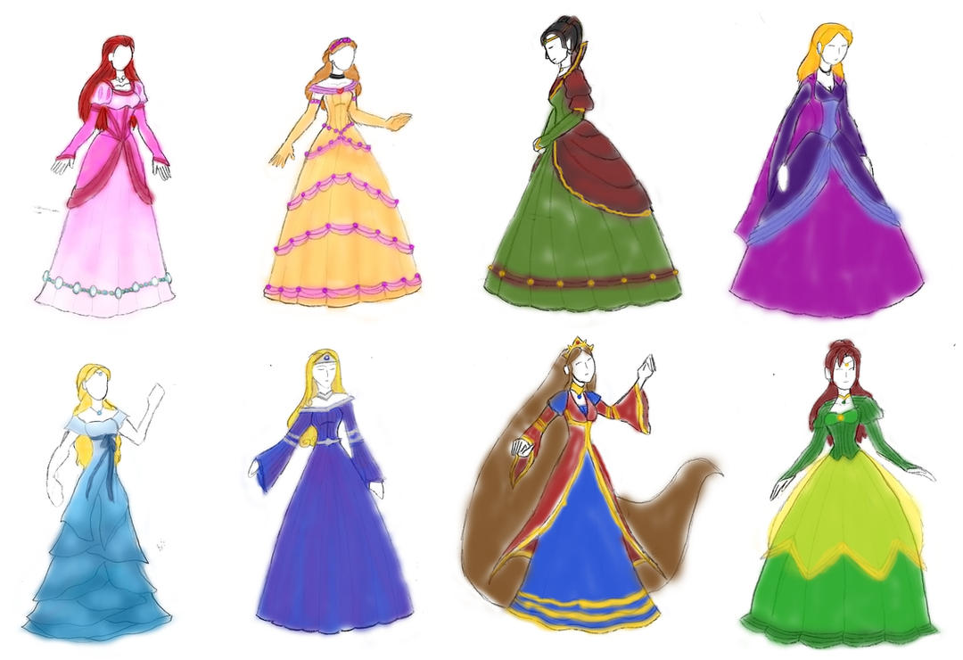 Princess Gowns colored by Valor1387 on DeviantArt