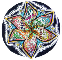 Rainbow Flower Shell Wheel Mandala by RanxStudio