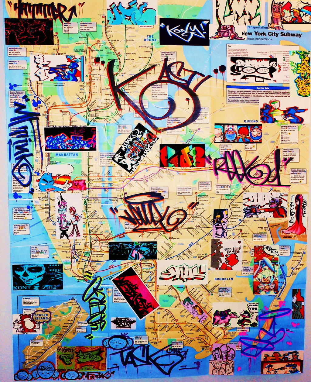 New York City Graffiti Art Subway Map By MFminK On DeviantArt - New york subway map with streets