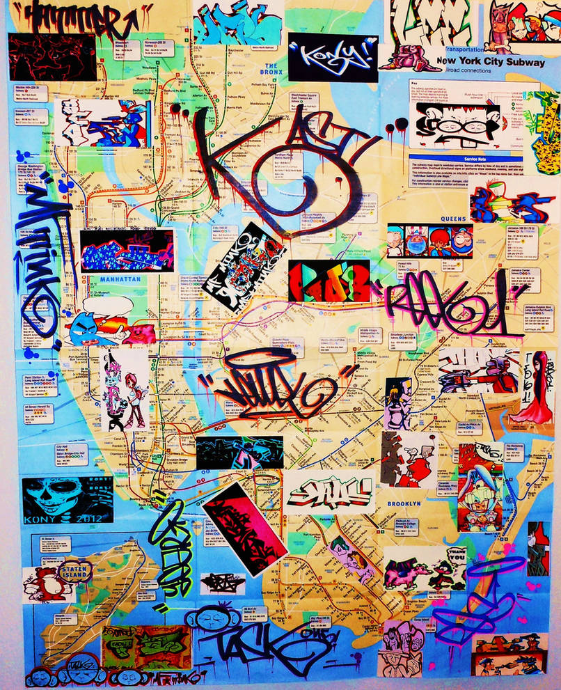 New York Subway Map Streets.New York City Graffiti Art Subway Map By Mf Mink On Deviantart