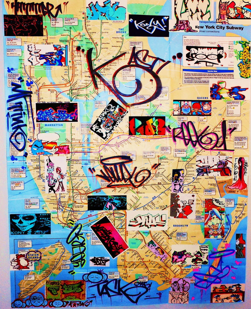 New York City Graffiti Art Subway Map By MFminK On DeviantArt - New york subway map new