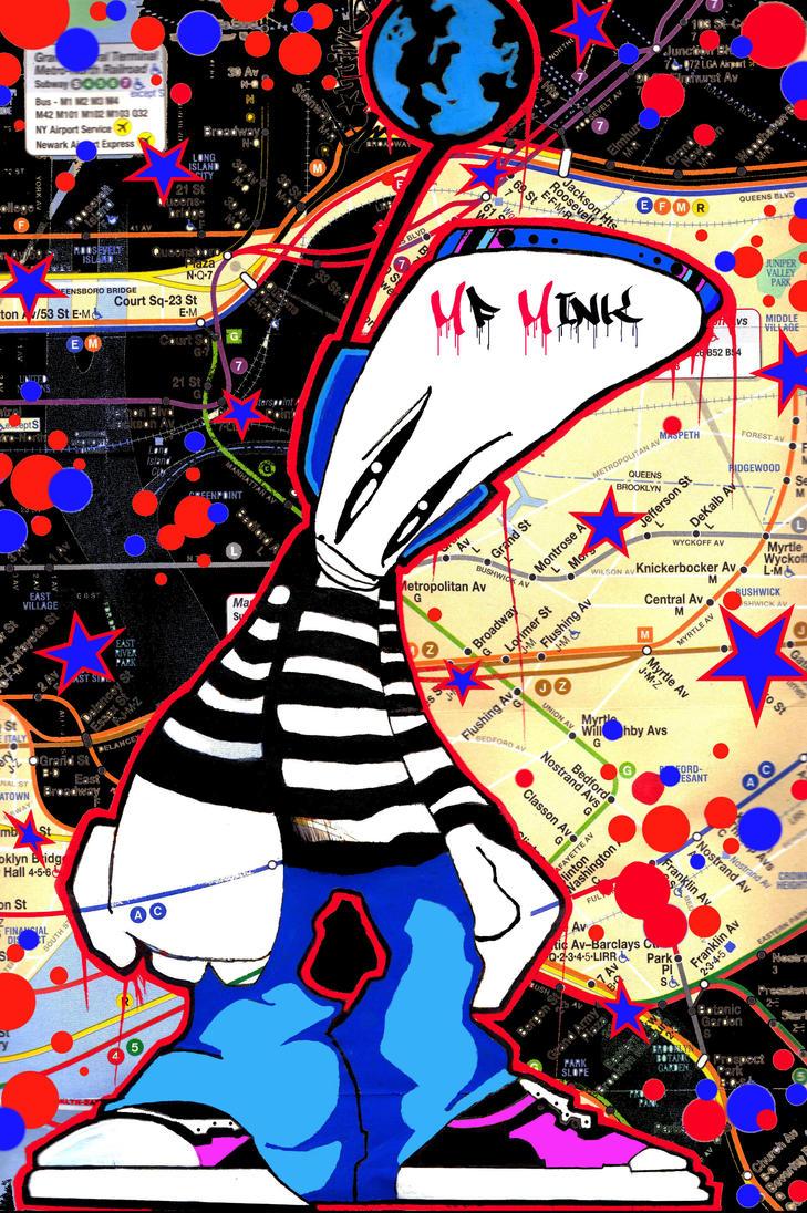 NYC Map Graffiti Character by MF-minK