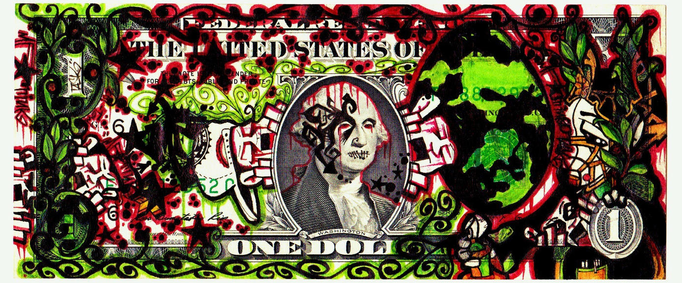 Graffiti Art Dollar Bill Bombed Out 1 Bill By Mf Mink