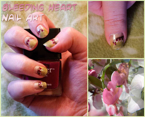 Bleeding Heart (Flower) Nail Art