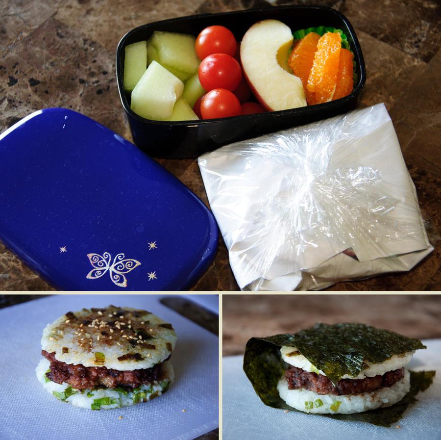 Rice Burger Bento by Demi-Plum