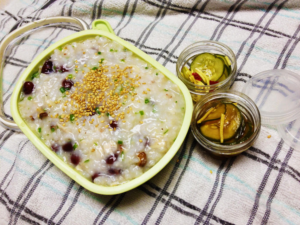 Hearty Jook and Homemade Pickles Bento by Demi-Plum